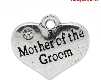 "1 or 2 or 4 or 10 pcs. Antique Silver ""Mother of the Groom"" charm with rhinestone- 16mm X 14mm"