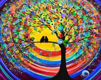 "love birds tree painting one afternoon original abstract acrylic 24x30"" Mariana Stauffer - Malorcka art"