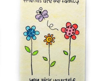 Friends are Family - Original Watercolor ACEO / ATC