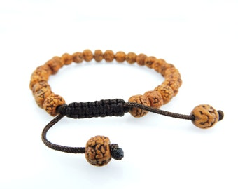 Rudraksha Tibetan Wrist Mala Bracelet for Meditation - Brown String