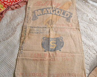 Rustic MAYGOLD CORN SACK Golden Kernel Coarse Osnaburg Bag, Faded Red Blue Printing Kitchen Wall Hanger Iowa Primitive, Vintage Advertising