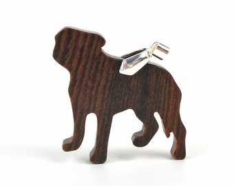 Staffordshire Bull Terrier Pendant Necklace Wood Dog Breed Jewelry Staffy Necklace