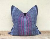 "Stripe Pillow Case, Nature Hemp Hand Woven A Piece Of Vintage Tribal Textile 20"" x 20"" Reverse made of quatily hemp, minimalist pillow case"
