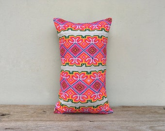 """Ethnic Hmong Hand Embroidered Organic Hemp Pillow Case 12"""" x 20""""  Pieces Of Ethnic Costume"""