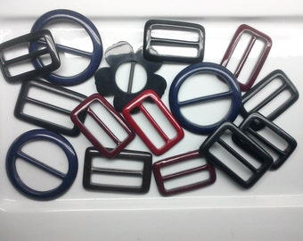 15 Pieces Retro New Old Stock Mixed Plastic Buckles. Pack 161