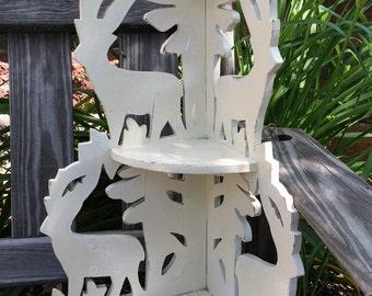 Vintage Corner Shelf Woodsy Folkart Deer Handmade Chippy White