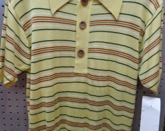 VINTAGE 1970's Men's AKINSON Short Sleeve Yellow Striped Knit Shirt (available)