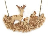 Forest friends necklace ~ Woodland laser cut necklace