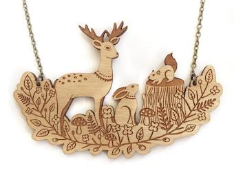 Forest friends necklace ~ Woodland laser cut necklace