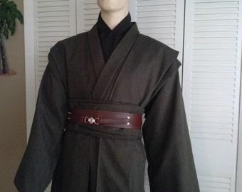 Star Wars Jedi Knight Dark Brown 5 Piece Costume Sz. XL - XXL Tall Handmade with full Under Tunic