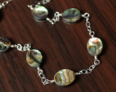 Abalone Anklet, Sterling Silver Chain, Genuine Paua Shell, Dainty Summer Jewelry, Beach Ankle Bracelet, Free Shipping