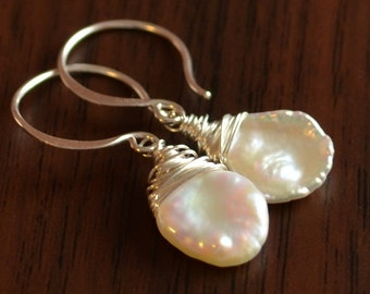 White Pearl Dangle Earrings, Sterling Silver, Keishi Keshi Freshwater, Beach, Wire Wrapped, Simple Jewelry, Free Shipping