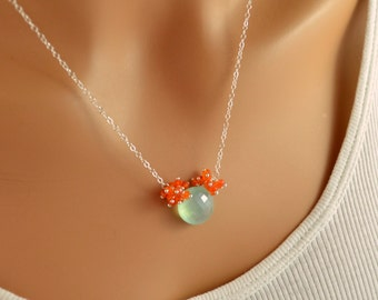 Gemstone Necklace, Aqua Chalcedony Coin Pendant, Bright Orange Carnelian Clusters, Sterling Silver Jewelry, Free Shipping