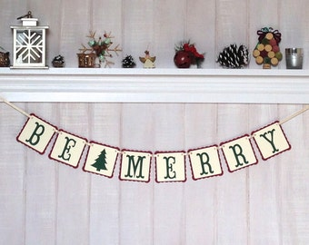 Christmas Decoration - Be Merry Paper Banner - Christmas Mantle Decoration - Christmas Garland - Holiday Bunting