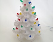 """Ceramic Christmas Tree with Lights - 13"""" inches Tall - White"""