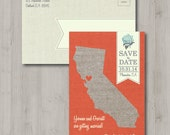 Printable Save the Date Post Card - Rustic State - California