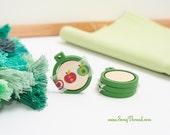 dark green mini embroidery hoop 1 inch tiny miniature decorative earring pack