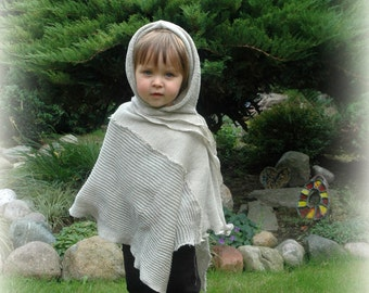 Grey Poncho LINEN, BOYS Poncho,Knitted Linen, Hooded Poncho ,Unique Clothing, Eco Friendly,, Natural Clothing,Wrap Sweater,Grey Poncho