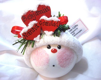 Grandma Gift Christmas Ornaments Personalized Red Heart Samples Hand Painted Handmade Personalized Themed by Townsend Custom Gifts