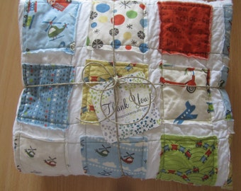 Trains and Helicopters.....A Boy's Fray Edge Quilt......Ready to Ship