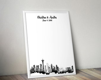 Wedding Guestbook Print - Seattle Watercolor Skyline Guest Book Alternative - Personalized Print 8x10 or 11x14