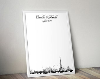 Wedding Guestbook Print in DIGITAL format - Paris City Skyline Watercolor Guest Book Alternative - Personalized in Your Choice of Size