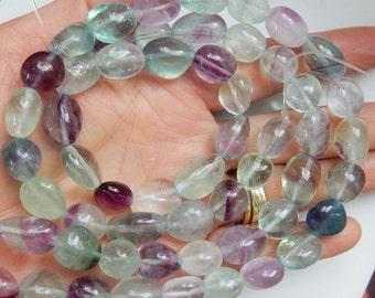 Rainbow fluorite  nugget gemstone beads (12-19x11-12mm), FULL STRAND (15.5  inches)