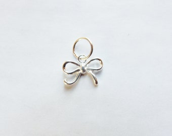 2 pcs   Sterling silver,bow  charm (10.5x8mm),