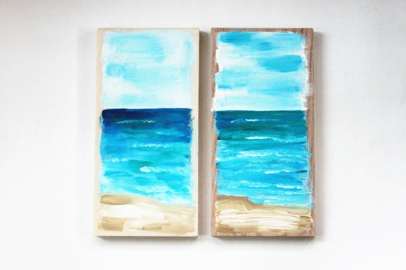 Abstract Ocean Art, Painted Wood Signs, Beach wooden signs, beach art, ocean decor, reclaimed wood wall art