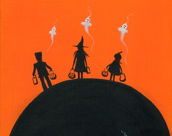 Original Painting Hilly He-He-He-Help - 6x6 - Halloween Folk Art - Silhouette 3 Kids in Costumes Trick or treating - OOAK Acrylic on Canvas