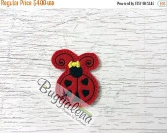 ON SALE Ladybug with Hearts Feltie Embroidery Design