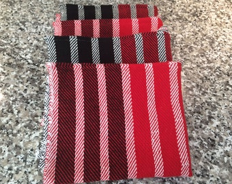 Hand woven Tea Towels - Classic Twill Stripes, Red Black White, Organic Cotton, handwoven kitchen towel, dish towel Bread cloth hostess gift