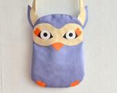 Purple Suede Owl Bag