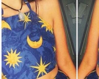 Blue Moon Sun Stars Celestial hippie boho festival fashion summer halter crop top