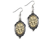 Ouija Board Silver Glass Cameo Earrings