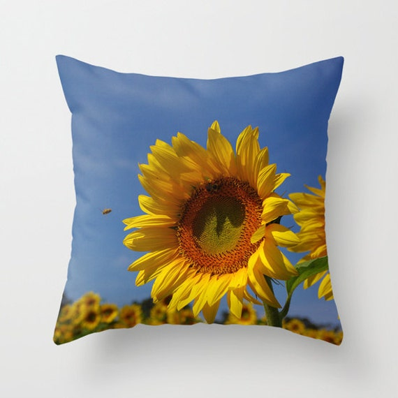 Sunny sunflower throw pillow cover yellow gold botanical