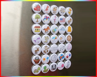 "35 First Words Magnets. Mini 1"" Refrigerator Lot. Kid's spelling activity game set. 3-8 letter words. (bv002a Simple) Rubber Backed Magnets"