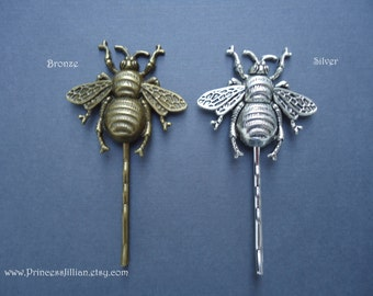 Nature inspired hair bobbies - Silver pewter bronze bumble bee insect garden mother earth girl fun decorative embellish hair accessories