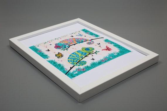 Seeing Spots - Framed Chameleon Art Print - Childrens Art - Animal Art - Wildlife print - Nature print - by Oliver Lake