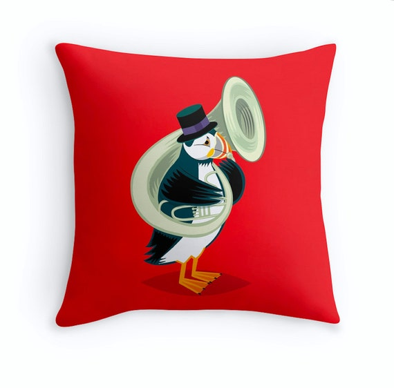 "Puffin On A Tuba - Red Childrens Cushion Cover / Throw Pillow Cover (16"" x 16"") by Oliver Lake"