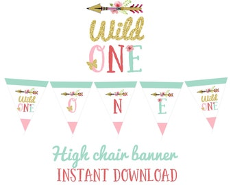 WILD ONE Birthday party Wild one decorations Wild One High Chair banner. Arrow high chair banner Teepee banner First birthday Wild One