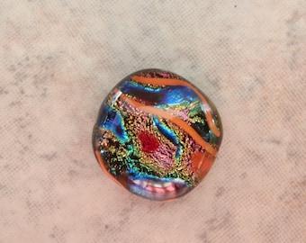 Dichroic Glass Cabachon Round 15mm Orange Blue Destash