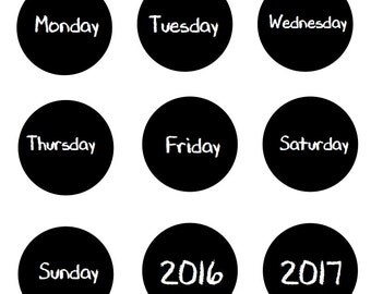 "3"" Days of the Week Magnets LARGE Back to School Chalkboard Design Calendar Each 3"" with full magnet  Made To Order"