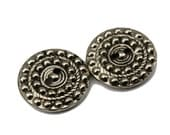 Vintage Deco Stamped White Metal Reproduction Sew Thry Button Set, 19mm, 2-Hole, 2pc/Set