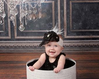 Black&White Lace Feather Headband, Baby Headband, Baby Girl Headband,Lace Headband, Feather Headband, Vintage Headband, Flower Girl Headband