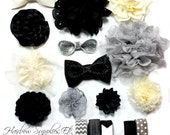 Headband Kit - Black, Ivory, Silver - Cherish - Baby Shower Station Kit, Baby Headbands, DIY Headband - Hairbow Supplies, Etc.