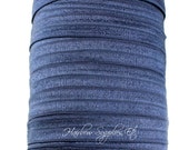 Navy Blue Fold Over Elastic - Choose 1, 5 or 10 yards 5/8 inch FOE - Shiny for Headbands Hair Ties Hairbow Supplies, Etc.