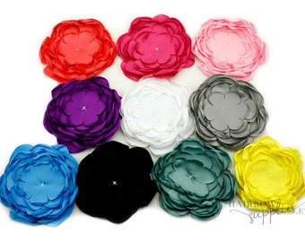 Singed Satin Flowers 4 inch Multi Layer Singed Flowers, Satin Flowers, Satin Flower Headband, Satin Singed Flowers, Flower Girl Flowers