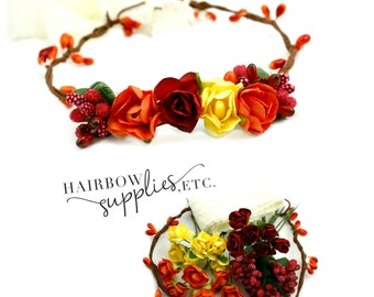 Fall Floral Crown Kit DIY  - Fall Headband, Harvest Headband - Hairbow Supplies, Etc.