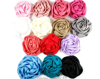 Satin Flowers Elegant Rosette  3 inch - Satin Flowers, Fabric Flowers, Silk Flowers, Hair Flowers, Flower Headband - Hairbow Supplies, Etc.